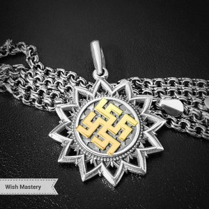 Оберег на удачу - Цветок папоротника из серебра и золота