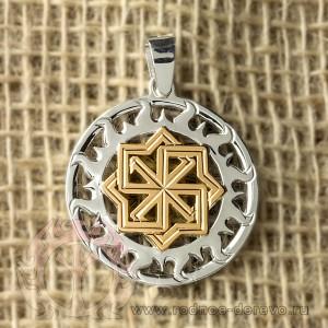 Оберег Молвинец в Солнечном круге из серебра с золотом