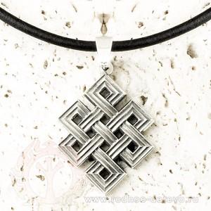 Тибетский узел, амулет из серебра