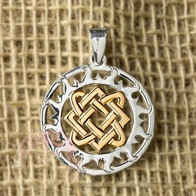 Оберег звезда Лады-богородицы из серебра и золота